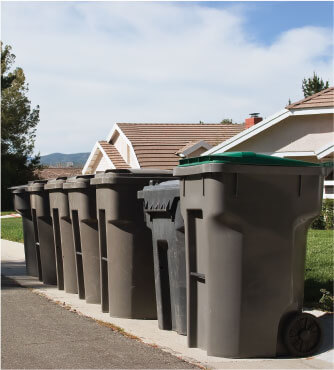 photo of some rubbish bins lined up across a sidewalk